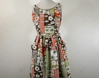 1950s Sun Dress, Floral Fall Colors