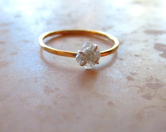 Rose Cut Diamond Slice Ring, Simple Diamond Ring, Alternative Engagement Ring, Thin Silver Band, Silver Stacking Ring Made To Order