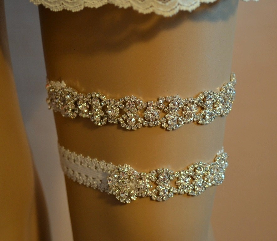 Wedding Garter Rhinestone Wedding Garter Set Elegant