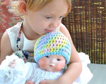 Pastel Rainbow Crochet Baby Hat Pale Soft Natural 100% Cotton Yarn Sleeper Cap Colorful Crocheted Infant Beanie Nightcap Newborn Shower Gift