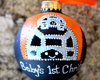 Baby's First Christmas Ornament, Hand Painted Glass Ornament, Baby Turtle