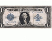 1923 One Dollar (1.00) Authentic Large Size Blue Seal Silver Certificate