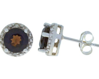 14Kt White Gold Natural Smoky Quartz & Diamond Round Stud Earrings