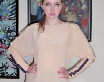 Versace Blouse Pale Peach Watered Silk  Batwing Ruched Sleeves 1980s NEW Denim Hip Hop