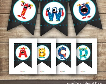Printable Monster Banner, Monster Party Printables, Chalkboard Birthday Banner, Boys Birthday, Create Your Own Banner, A-Z, Monster Party