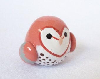 Chubby Barn Owl Totem - Handcrafted Totem Animal Miniature - Spirit Animal Sculpture - Fat Bird Figurine