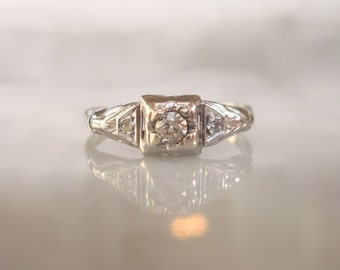Art Deco Diamond Ring - 14K White Gold Engagement, Anniversary, Wedding or Right Hand Diamond Solitaire Ring  .13 carats TCW - Size 7 1/4