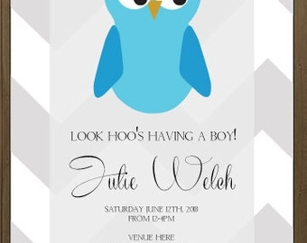 It's a boy baby shower invitation, digital, printable file 5 x 7, 4 x 6, chevron owl theme, blue