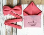 Set Bow Tie & Pocket Handkerchief by BartekDesign: coral salmon pink linen wedding grooms