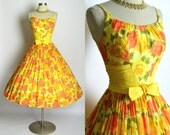 "BEST & CO 1950's Tea Length Bright Yellow Orange Green Cotton Dress New Look Dress Party Dress Cocktail Dress Prom Dress 26"" Waist Small"