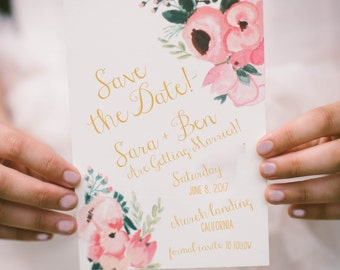 Italian Pink Bellini Save the Date   Printable Invitation Template   INSTANT DOWNLOAD