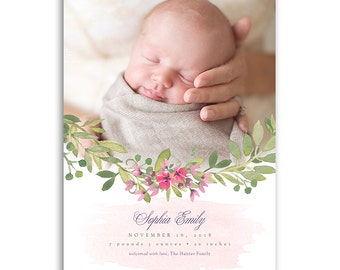 Girl Birth Announcement Template - 5x7 Card - BABY SOPHIA - 1460