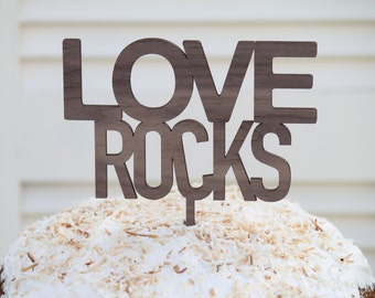 Love Rocks // Timber Wedding Cake Topper // Rustic Country Woodland Garden Quirky // Australia