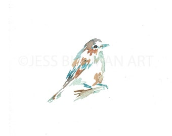 "Print of Original Watercolor Painting, Titled: ""Frankfurt the Bird"" by Jessica Buhman 8 x 10"