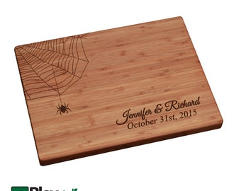 Halloween Personalized/ Engraved Cutting Board- Spider Web , Personalized Halloween Wedding Gift, Halloween Cutting Board, Halloween Gifts