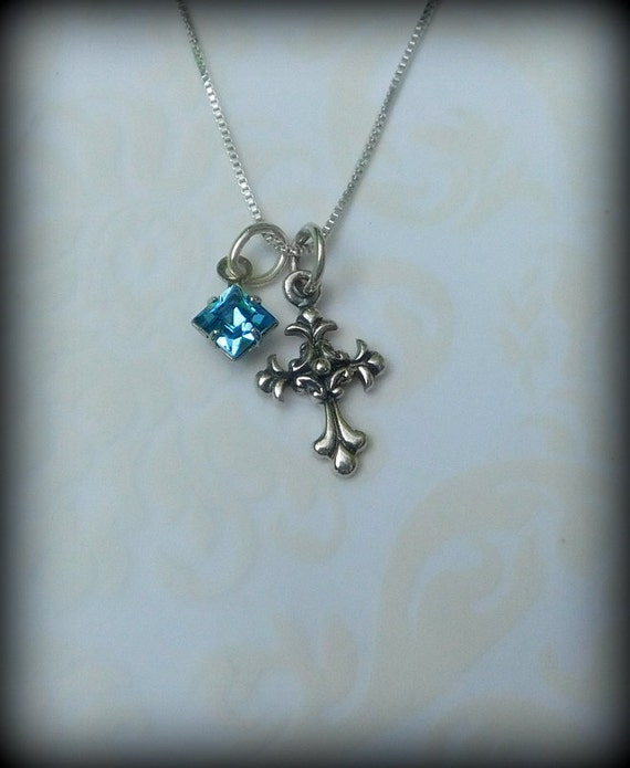 Sterling silver necklace, sterling silver cross, religious necklace, spiritual jewelry,  wedding jewelry