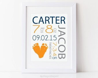 Navy and Orange Nursery Baby Boy Birth Announcement Wall Art, Footprint Nursery Decor 8x10 in Personalized with Your Baby's Feet, UNFRAMED