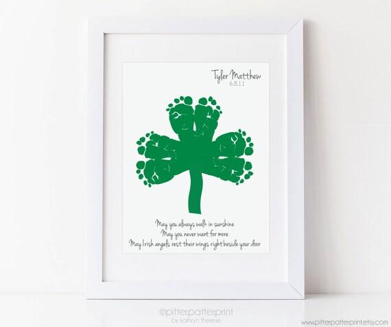St Patricks Day Baby Footprint Shamrock, Children's Irish Blessing, Personalized Ireland Art Print Decoration, Your Child's Feet, UNFRAMED