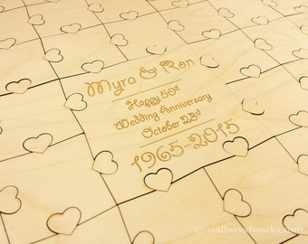Wedding Puzzle Guest Book (Anniversary) 32-400 Piece Wedding for Weddings, Guest Book Puzzle, Guestbook puzzle, Rustic, Laser Cut & Engraved