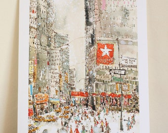 SNOWING in NEW YORK, Nyc Holiday Art Print, Macy Watercolor Painting, City Shopping Wall Art, Drawing New York Christmas Print Signed Giclee