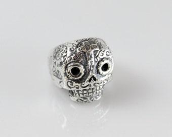 Handmade Sterling Silver Small Sugar Skull Ring