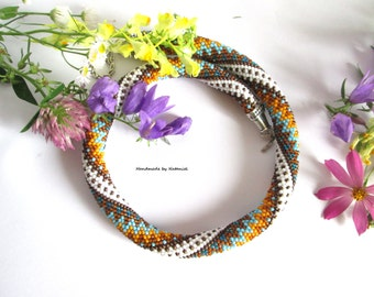 "Bead Crochet Necklace ""Sea breeze"" colorful summer decoration zigzag blue Aqua yellow brown white beaded jewelry for her made to order"