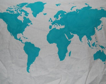 SALE.*. World Map Wall Tapestry in Teal