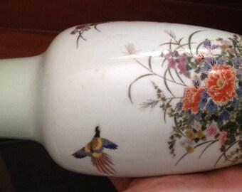 "Vintage Sanko Toen Japanese Vase - ""Pheasants and Flower Garden"" with Green Hue"