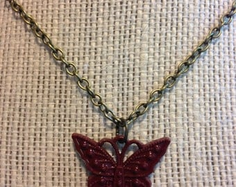 "18"" Maroon Butterfly Necklace"