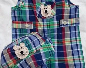 Baby Boys Infant Red Blue Green Plaid 2 Piece Set Romper Shorts Hat-  HandmadeTeddy Bear - Sizes:  Newborn, 3, 6,and 9 months