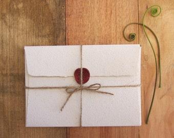 """4 Letter envelopes, Handmade Recycled paper, Invitation paper, Handmade envelopes, Eco friendly stationery, 6 1/4"""" x 4 3/8"""" (16cm x 11cm )"""