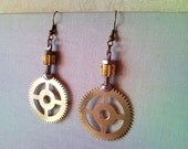 Steampunk style recycled mechanical clockwork, clock movement mechanis...