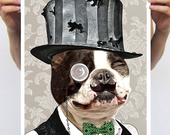 Steampunk Bulldog vintage Animal painting drawing illustration portrait painting mixed media digital print POSTER 11x16