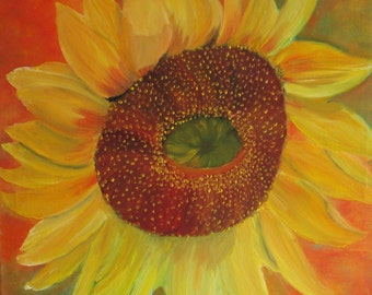 sunflower painting, flower oilpainting, canvas art, original oilpainting, fine art, floral art