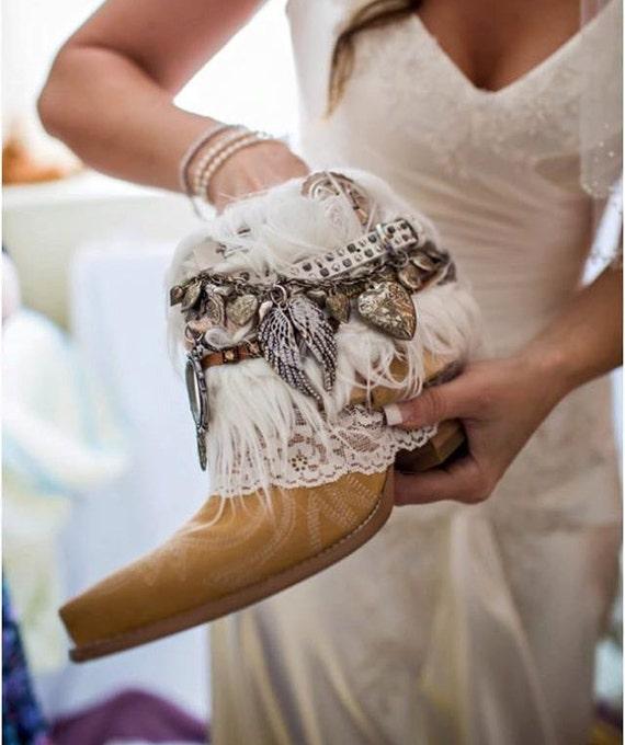 Bridal Shoes Boho: Custom BRIDAL Upcycled Vintage COWBOY BOOTS Boho Boots