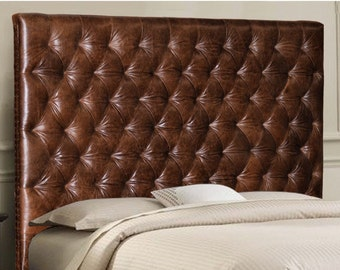 Wall Mounted King Size Headboard Upholstered In Black Genuine