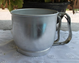 Mid Century Aluminum Five Cup Flour Sifter from Foley