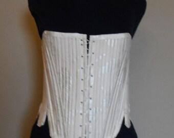 Eighteenth Century Silk Stays - Ivory Cream floral wedding corset - Marie Antoinette