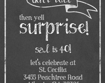 Surprise Party Chalkboard Invitation with Envelopes, Digital Download JPG, and Note Cards