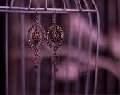 Brass and Rhinestone Swirl Key Earrings