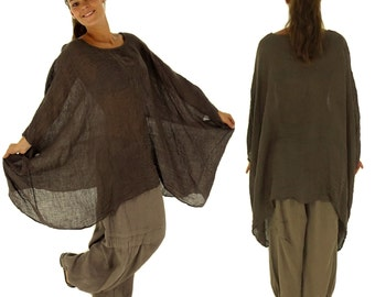 HH900BR ladies tunic poncho blouse linen layered look one size Brown