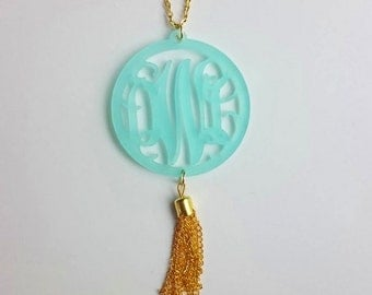 Tassel Monogram Acrylic Necklace with Vine or Circle Font and extra long chain