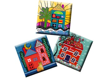 HOME SWEET HOME -  Digital Collage Sheet 1 inch square images for pendants, earrings, magnets, decoupage etc. Instant Download #223.