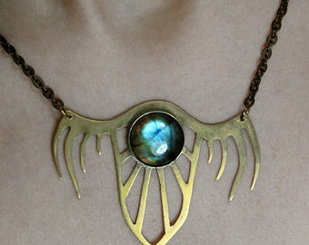 Satanic necklace Satanism Satanic jewelry Demon wings Gothic necklace Shield pendant  Labradorite necklace