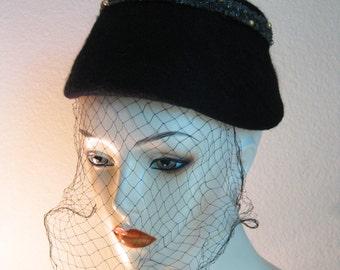 1950s Goth Hat Black Veil Felt Lampshade Hat Beaded