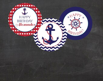 """Nautical Birthday Custom Printable  2"""" Party Circles/Cupcake Toppers - Red and Blue"""