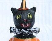 Halloween Black Cat Art Doll Vintage Style Prim Folk # 6