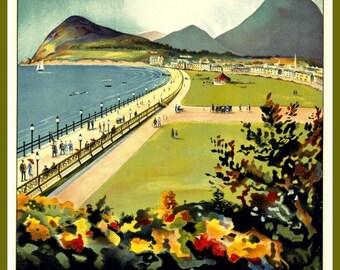 Ireland Bray Travel Poster Print, 1950s