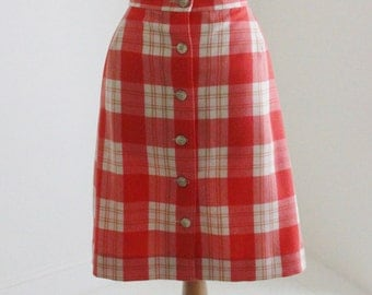 25% SALE - Vintage 1970's Plaid skirt (new old stock)