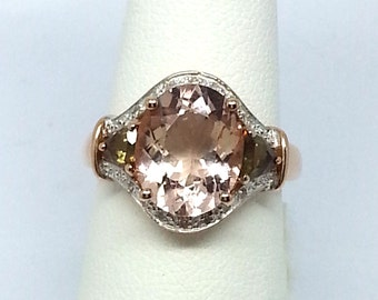 3.80ctw Morganite And Andalusite with Diamond Accent Round 10k Rose Gold Ring Size 6